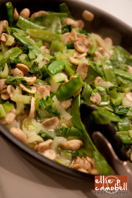 Bok Choy, Mushrooms, and Snow Peas